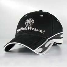 S&W Black Twill Cap w Racing Stripes