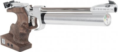 Steyr LP2 Luftpistol with silver compressed air cylinder